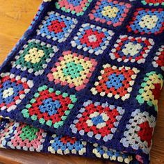 Vintage Crochet Afghan Squares Navy Bright Colors Wool Handmade Antique In 2020 Crochet Quilt Pattern Crochet Squares Afghan Crochet Afghan