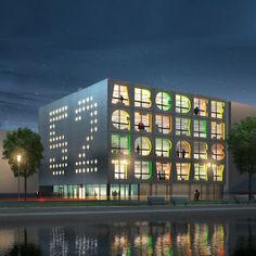 De Nederlandse architecten MVRDV ontwierpen dit kantoorgebouw voor de creatieve industrie in Amsterdam waarvan de gevel bestaat uit de uitgesneden letters