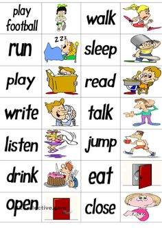 Verbs Dominoes - English ESL Worksheets for distance learning and physical classrooms English Grammar Worksheets, English Verbs, Grammar And Vocabulary, Vocabulary Activities, English Vocabulary, English Lessons For Kids, Kids English, Learn English, English Games