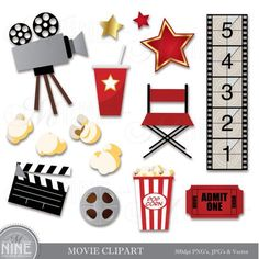 MOVIE Theme Digital Clipart Set by MNINEdesigns *Great for use on greeting cards, invitations, print Deco Cinema, Cinema Party, Cinema Theatre, Movie Party, Scrapbooking Digital, Photo Album Scrapbooking, Digital Papers, Soirée Des Oscars, Kino Party