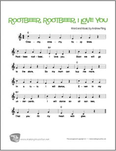 Rootbeer I Love You Voice Piano And Guitar Sheet Music