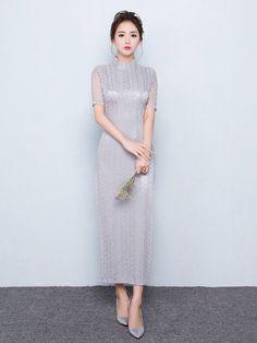 Gray Lace Ankle-length Modern Qipao / Cheongsam Dress with Split