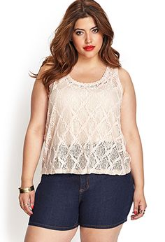 Textured Crochet Lace Tank | FOREVER21 PLUS - 2000068306