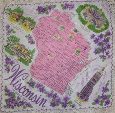 Wisconsin state map in pink + purple wood violets [handkerchief / scarf]