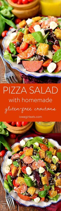 Pizza Salad with Homemade Gluten-Free Croutons is a fresh and filling entree salad packed with pizza flavor. Homemade gluten-free croutons add a satisfying crunch. | http://iowagirleats.com