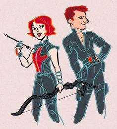 Trading catsuits: No problem. Black Widow knows how to use her partner's weapon, and Hawkeye's pretty confident about flashing his chest.