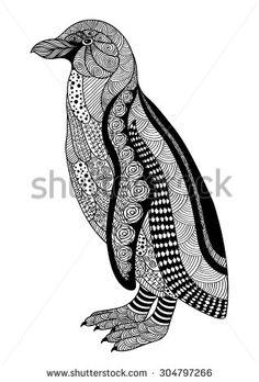 Zentangle style black and white ornamental penguin on a white background. Vector illustration.