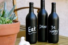 Wine Bottle DIY Crafts - DIY Wine Bottle Art with Chalkboard Paint  - Projects for Lights, Decoration, Gift Ideas, Wedding, Christmas. Easy Cut Glass Ideas for Home Decor on Pinterest http://diyjoy.com/wine-bottle-crafts