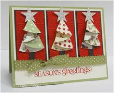 (Connie Babbert) Folded half-circle Christmas trees. http://craftysteals.com/2011/10/02/sunday-school-circle-christmas-tree-card-tutorial/