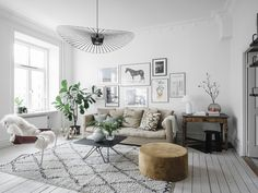 Neutral colored Scandinavian living room