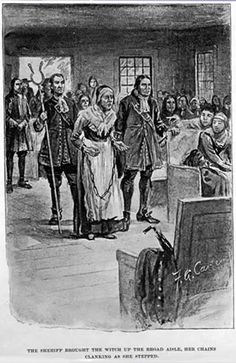 "Rebecca Nurse  ""The sheriff brought the witch up the broad aisle, her chains clanking as she stepped.""    Description This drawing illustrates a scene in John Musick's book The Witch of Salem in which Rebecca Nurse is brought in chains to the meeting house where the Rev. Nicholas Noyes pronounces her excommunication before the congregation. 1893"