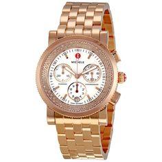 Diamond Chronograph Watch In Rose Gold