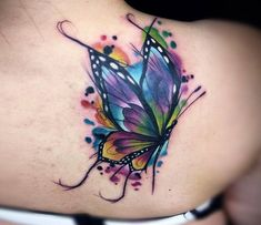 Photo – Butterfly tattoo by Vinni Mattos Photo – Perfect watercolor tattoo style of Butterfly motive done by artist Vinni Mattos Tattoos Watercolor Butterfly Tattoo, Butterfly Tattoo Cover Up, Butterfly Tattoos For Women, Butterfly Tattoo Designs, Watercolor Tattoos, Butterfly Tattoo On Shoulder, Watercolor Rose, Shoulder Tattoo, Rose Tattoos