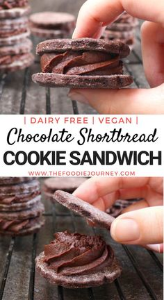 Chocolate Shortbread Cookie Sandwich. This super easy dessert recipe will be loved by your kids... and everyone else! It is a healthy vegan dessert that is a great alternative to sugary cookies. A Vegan, Dairy Free Cookies Recipe, what else!? Make some Cookie Sandwiches or use the different elements separately to make Vegan Chocolate Shortbread Cookies and Vegan Chocolate Ganache. #chocolateshortbread #cookiesandwich #shortbreadcookie #vegancookies #dairyfreecookies