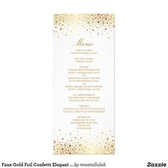 Faux Gold Foil Confetti Elegant Menu Card This is a part of a wedding suite. matching items are available.