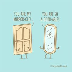Door and Mirror - little conversation seriesby Lim Heng Swee aka ilovedoodleinstagram: limhengsweeArt prints, t-shirts, etc available at http://www.ilovedoodle.com
