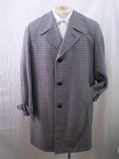 Vintage 60s Houndstooth Wool Overcoat Top Winter Coat Blues Mens Medium M #Walkers #BasicCoat