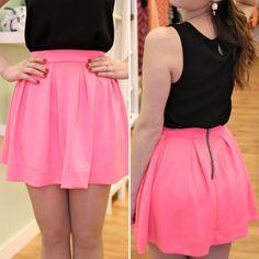Neon Pink Skater Skirt - BlueGreenAqua boutique