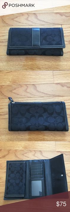 Black Coach Wallet and Checkbook Gently used long Coach wallet and checkbook insert. Has some marks but plenty of life left! Selling all my things to pay for my dogs vet bills. Coach Bags Wallets