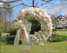 Shabby+Vintage+White+Burlap+Wreath+with+Shells+by+tinkerscottage,+$60.00