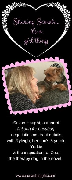 Zoe the Yorkie therapy dog from A Song for Ladybug negotiates her contract with author Susan Haught. She's all ears! www.susanhaught.com