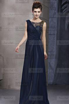 Vestidos de Noche Bueno Largos Azules Marinos Seda | Paris Ciel