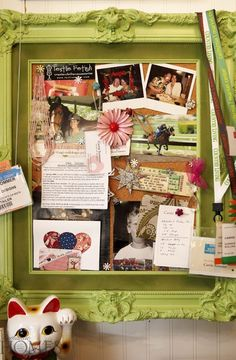 DIY Home office Décor Idea: Tired of the old memo board? Cork and thumb tacks don't have to look like cork and thumb tacks. Spring Projects, Diy Projects, Shabby Chic Crafts, Types Of Craft, Romantic Homes, Decor Interior Design, Create Your Own, Diy Crafts, Repurpose