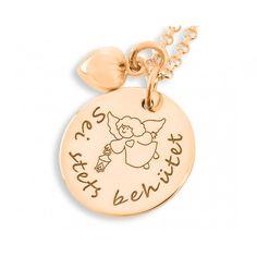 Eine bezaubernde Kette zur Geburt, zur Taufe oder Geburtstag etc. Das Plättchen ist wird mit Ihrem Wunschtext designed.