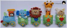 Trenzinho Animais da Floresta = Animals of the Forest on train felt, via Flickr. stuffed toy craft ideas for child