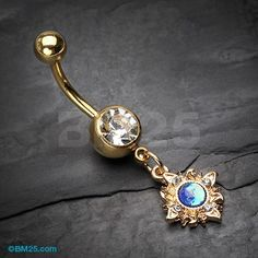 Golden Dainty Galaxy Sun Belly Button Ring