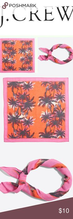 """J Crew Tropical Printed Bandana NEW J CREW WOMEN Printed Bandana - Pink / Orange Tropical Print NWT!  BRAND NEW, WITH TAGS  Cotton. 20""""L x 20""""H. Hand wash. Import. Item G3700. J. Crew Accessories Scarves & Wraps"""