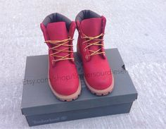 Hey, I found this really awesome Etsy listing at https://www.etsy.com/listing/182855244/red-timberland-boots-mens-sizes