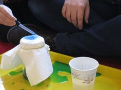 Rain jar Students drop water on several layers of paper towels.  They will notice that when the towel can't hold any more water it drips into the jar.
