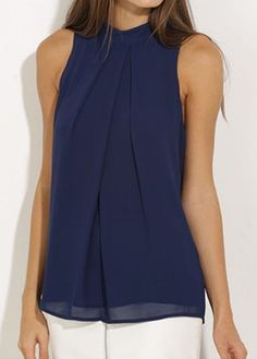 Sleeveless High Neck Navy Blue Blouse