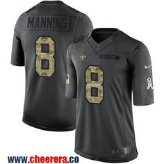 Men's New Orleans Saints #8 Archie Manning Black Anthracite 2016 Salute To Service Stitched NFL Nike Limited Jersey