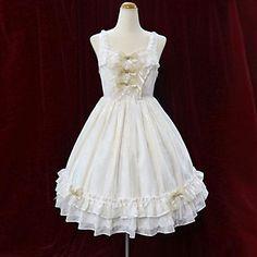 Elegant Elf Sleeveless Short White Cotton Princess Lolita Dress