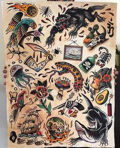 What's your favorite from 1 to Write in the comment by . Traditional Tattoo Flash Sheets, Traditional Tattoo Forearm, Traditional Tattoo Old School, Traditional Tattoo Design, Traditional Tattoo Drawings, Old School Tattoo Sleeve, Desenhos Old School, Vintage Tattoo Design, Candle Tattoo