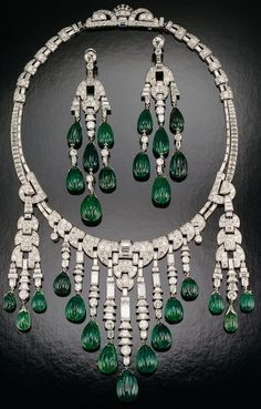 Carved Emerald and diamond Necklace and Earrings