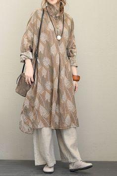 Fall Vintage Loose Camel Linen Dresses For Women Q1550