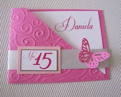 Inivtaciones de 15 años | Mi linda inspiracion Birthday Invitations, Birthday Cards, Wedding Invitations, Diy And Crafts, Paper Crafts, Quinceanera Decorations, Butterfly Cards, Folded Cards, Homemade Cards