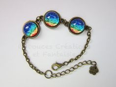 Jewelry cabochon bracelet rainbow sky bronze by DoucesCreations