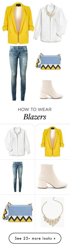 """Yellow Blazer <3"" by caroltips on Polyvore featuring Lacoste, River Island, Prada, MM6 Maison Margiela, Yves Saint Laurent and Talbots"