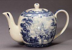 Blue Toile Estate Victorian Couple Horse Buggy Teapot