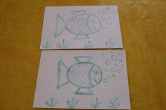 J'ai dessiné des poissons sur des feuilles cartonnées avec de la gomme à réserve. Les enfants ont peint les feuilles avec de l'encre...