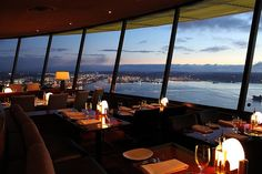 Sky City Restaurants, located in the Space Needle, slowly spins giving you a 360 degree view of downtown Seattle and the Puget Sound.  It is a great special occasion choice!