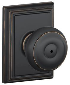 Schlage F40-GEO-ADD Privacy Georgian Door Knobset with the Decorative Addison Ro Aged Bronze Knobset Privacy