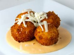 Fried Macaroni & Cheese with Spicy Pimento Alfredo Sauce