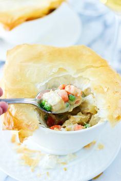 """Skinny Chicken and Vegetable Pot Pie with Phyllo """"Crust"""""""