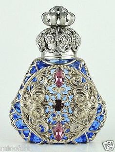 Vintage Jeweled Silver Tone Filigree Light Blue W Crystal Perfume Bottle