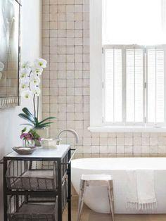 Beautiful tiled wall in bathroom